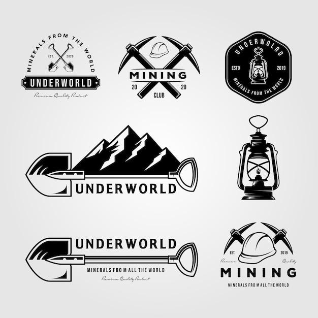 Satz bergbau vintage logo emblem abzeichen retro Premium Vektoren