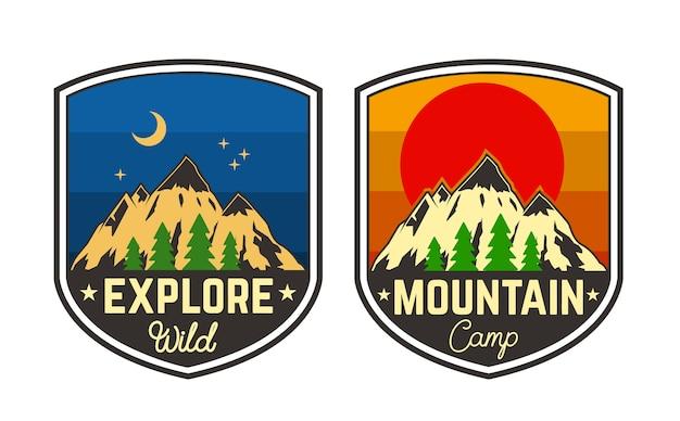 Satz bergcampingembleme. element für logo, etikett, zeichen, poster, t-shirt. illustration Premium Vektoren
