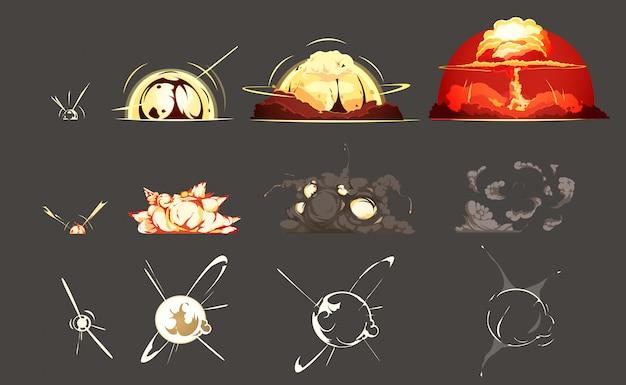 Satz-bilder-sammlung 3 des bombenexplosionsgefrierrahmens mit retro- karikatur des schwarzen hintergrundes Kostenlosen Vektoren