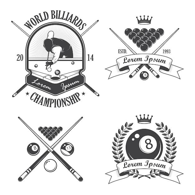 Satz billard-embleme etiketten und gestaltete elemente Kostenlosen Vektoren