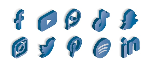 Satz blau glänzende social-media-symbole Kostenlosen Vektoren