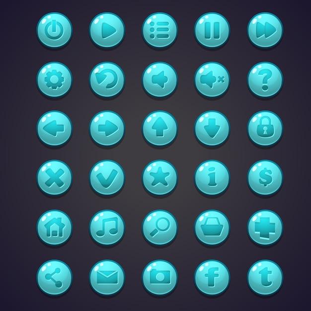 Satz blaue runde tasten für die benutzeroberfläche von computerspielen und webdesign Premium Vektoren