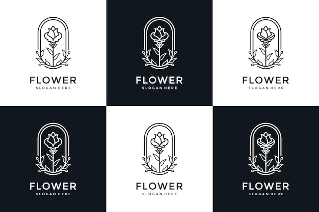 Satz blumenlogo-design im strichgrafikstil Premium Vektoren