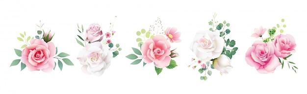 Satz blumenrosenblumensträuße für die heirat laden oder grußkarte ein. Premium Vektoren