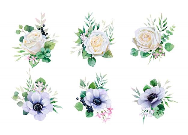 Satz blumensträuße des grüns und der weißrose für die heirat laden oder grußkarte ein. Premium Vektoren