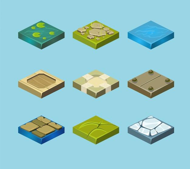 Satz bodenflächen. gras, steine und wasser. landschaftswebdesign. Premium Vektoren