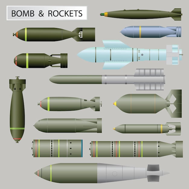 Satz bombe und raketen Premium Vektoren