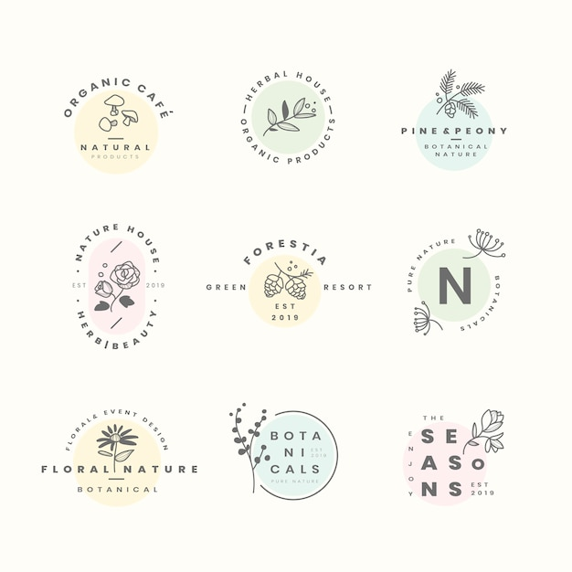 Satz botanische logoauslegungvektoren Kostenlosen Vektoren