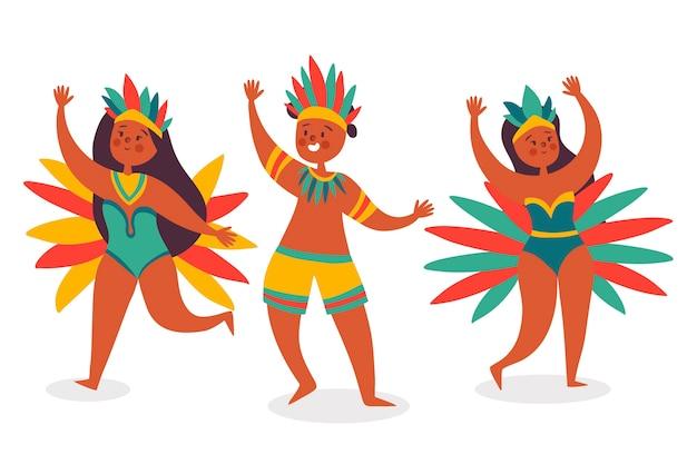 Satz brasilianische karnevalstänzer Kostenlosen Vektoren
