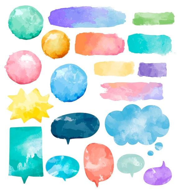 Satz bunte aquarellspracheblasen Kostenlosen Vektoren