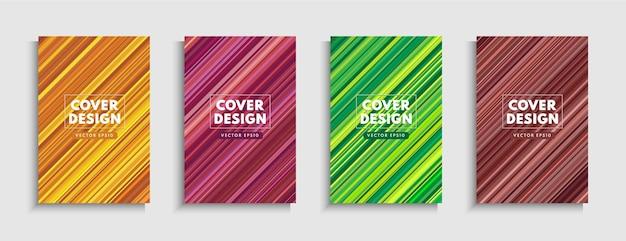 Satz bunte diagonale streifenlinie auf hintergrund. moderne und minimale trendige farbe Premium Vektoren