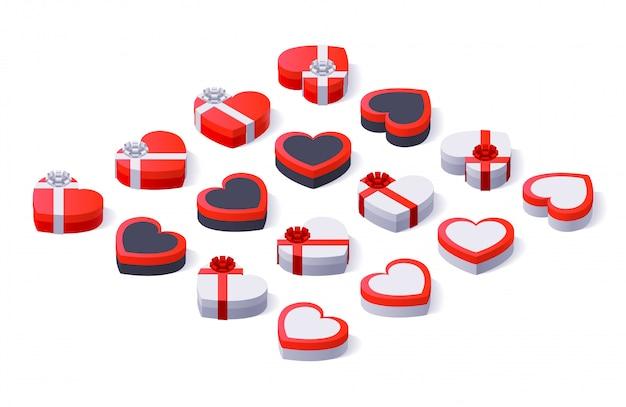 Satz bunte geschenkboxen mit bögen und bändern Premium Vektoren