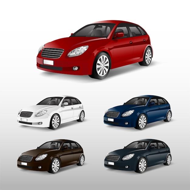 Satz bunte hatchback-auto-vektoren Kostenlosen Vektoren
