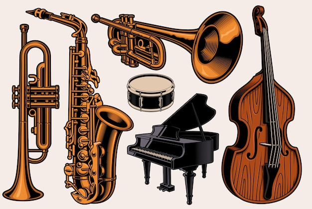 Satz bunte illustrationen verschiedener musikinstrumente Premium Vektoren