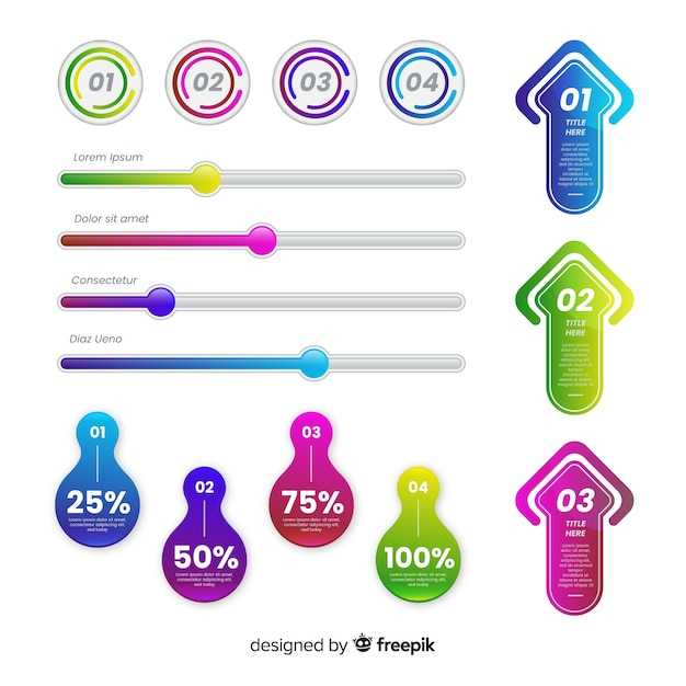 Satz bunte infographic elemente Kostenlosen Vektoren