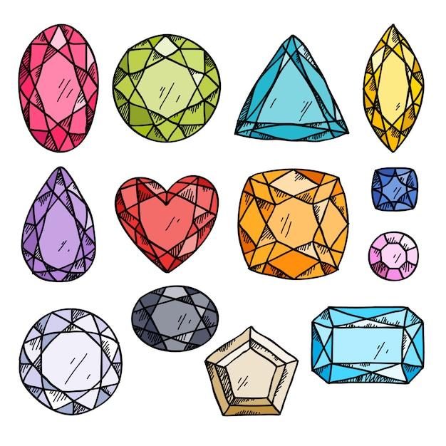 Satz bunte juwelen. Premium Vektoren