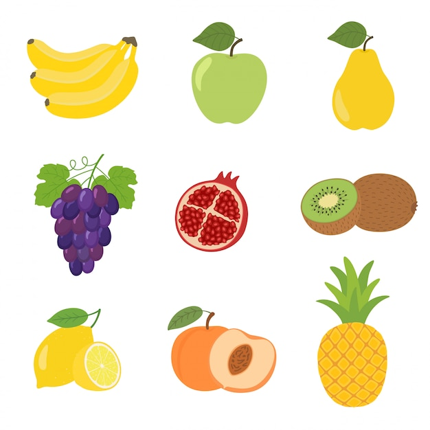 Satz bunte karikaturfruchtikonenapfel, birne, pfirsich, banane, trauben, kiwi, zitrone, granatapfel. Premium Vektoren