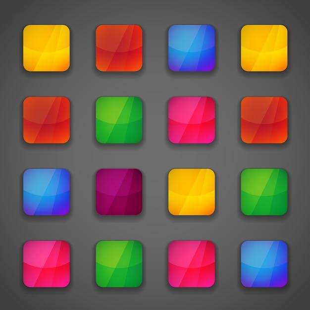 Satz bunte quadratische knopfsymbole für ihr design in lebendigen hellen farben des regenbogens Kostenlosen Vektoren