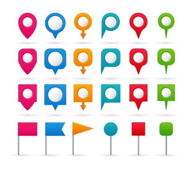 Satz bunte zeiger. navigations- und standortsymbole. Premium Vektoren