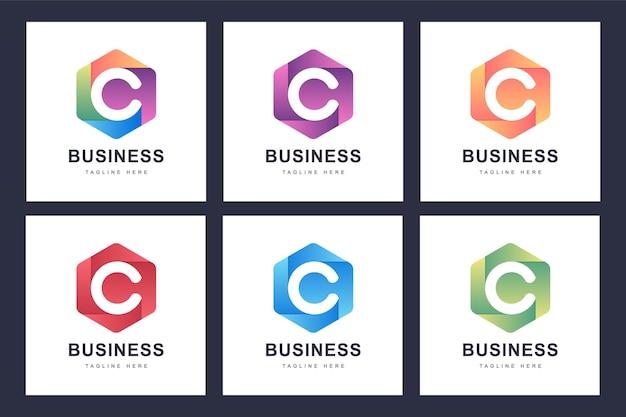 Satz buntes c-buchstaben-logo mit mehreren versionen Premium Vektoren