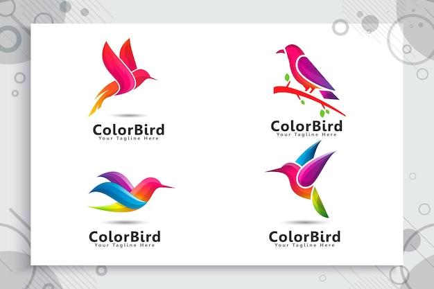 Satz buntes vogellogo Premium Vektoren