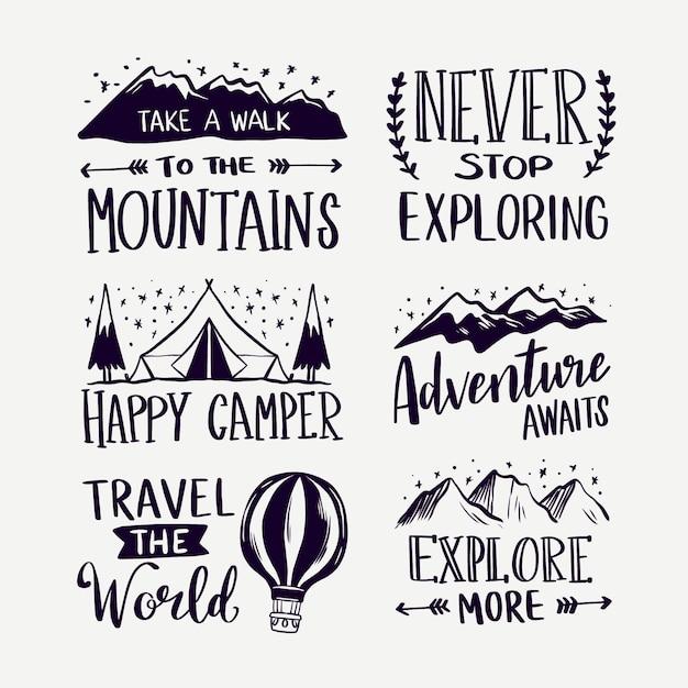 Satz camping und abenteuer schriftzug Kostenlosen Vektoren