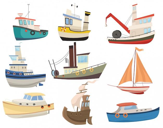 Satz cartoon-boote. sammlung verschiedener wassertransporte. segelschiffe. spielzeug. Premium Vektoren