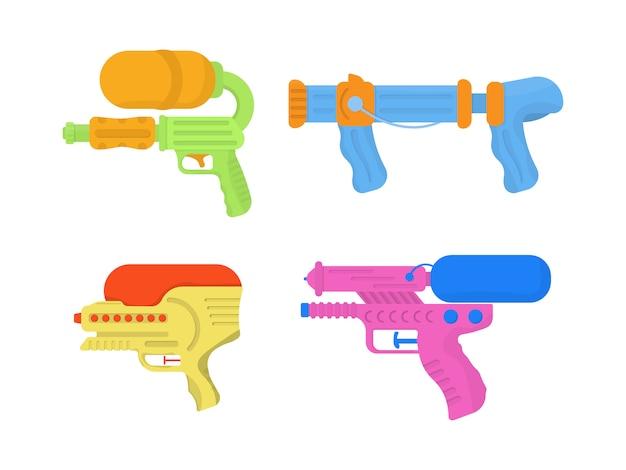Satz cartoon spielzeug wasserpistolen für spaß kinder. helle mehrfarbige kinderikonen. wasserpistolen auf weißem hintergrund. waffenspielzeug für kinder. illustration ,. Premium Vektoren
