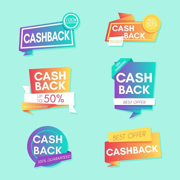 Satz cashback-etiketten Kostenlosen Vektoren