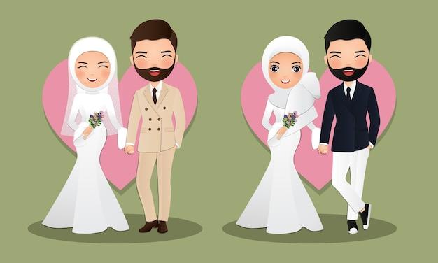 Satz charaktere niedliche muslimische braut und bräutigam. hochzeitseinladungskarte. illustration im paar cartoon in der liebe Premium Vektoren