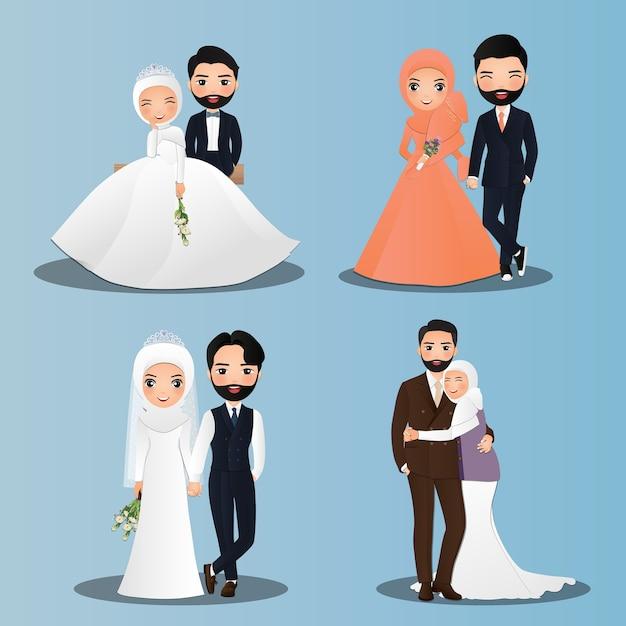 Satz charaktere niedliche muslimische braut und bräutigam. hochzeitseinladungskarte. in paar cartoon verliebt Premium Vektoren