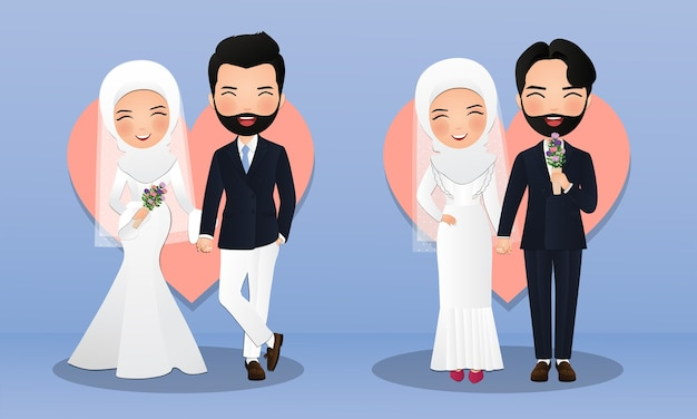 Satz charaktere niedliche muslimische braut und bräutigam. paar cartoon verliebt Premium Vektoren