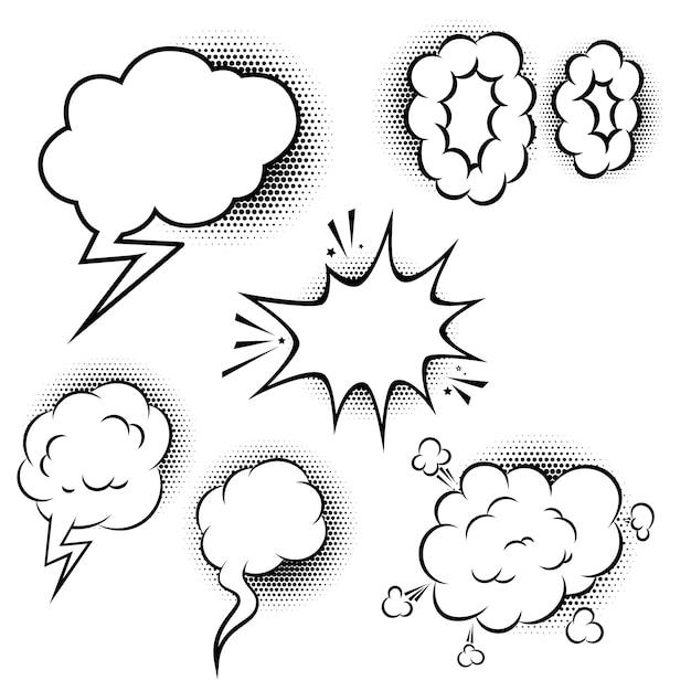 Satz comic-sprechblasen. elemente für plakat, banner, karte. illustration Premium Vektoren