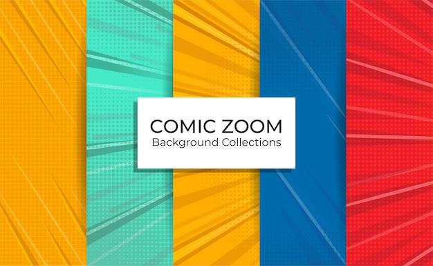 Satz comic-zoom-hintergrundsammlungen mit leeren fokuslinien. Premium Vektoren