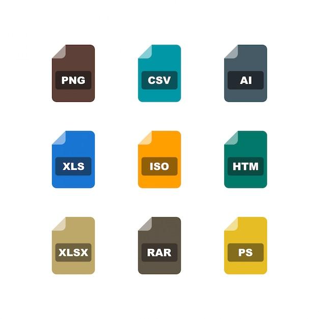Satz dateiformate ikonen auf weißem hintergrund-vektor lokalisierte elemente Premium Vektoren