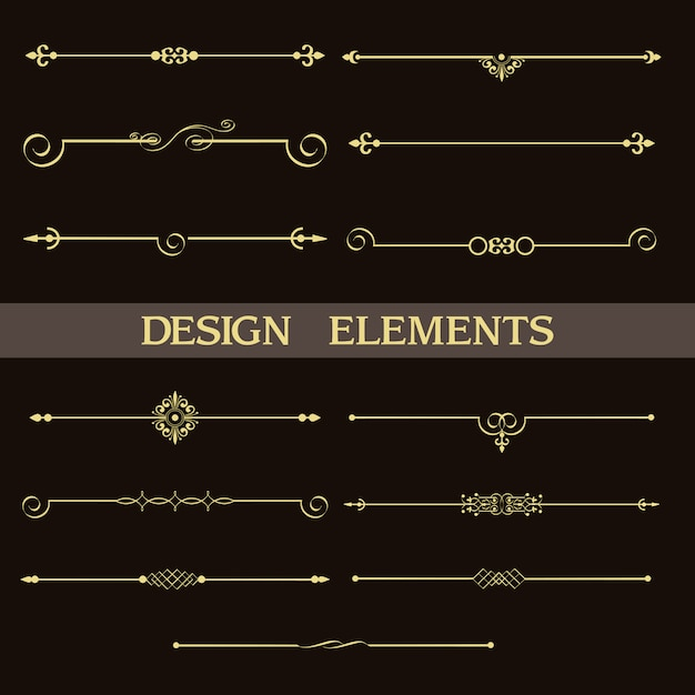 Satz dekorative goldene teiler der weinlese Premium Vektoren