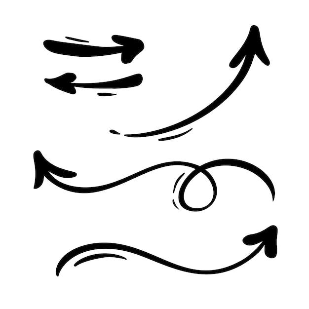 Satz dekorative pfeile der kalligraphie flourish-weinlese Premium Vektoren