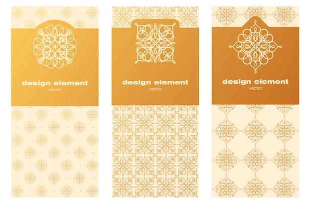 Satz dekorative schablonen für das verpacken. Premium Vektoren