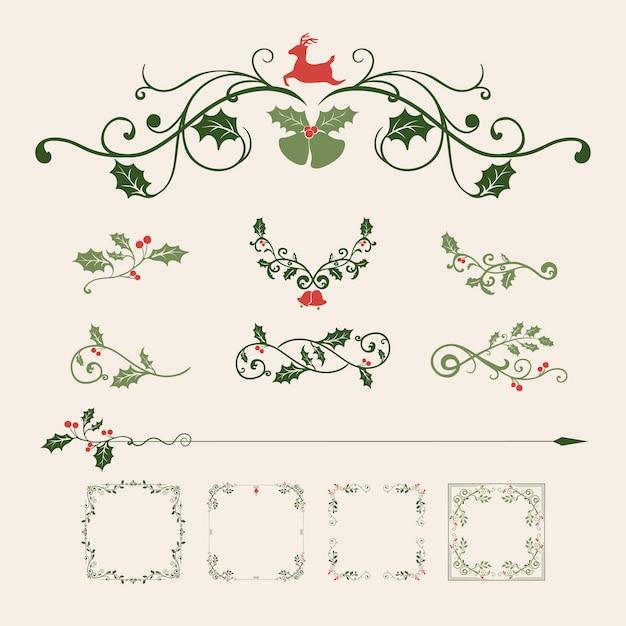 Satz dekorative weihnachtsschmuck Kostenlosen Vektoren