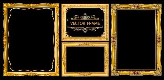 Satz dekorative weinleserahmen eingestellt Premium Vektoren