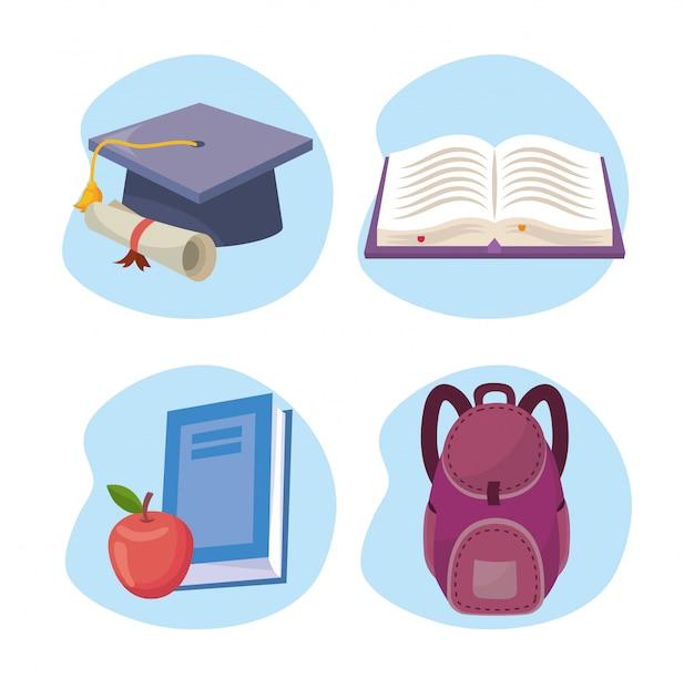 Satz der abschlusskappe mit diplom und des buches mit apfel und rucksack Kostenlosen Vektoren