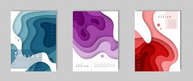 Satz der abstrakten modernen abdeckungsschablone mit dynamischen farbigen formen und wellen Premium Vektoren