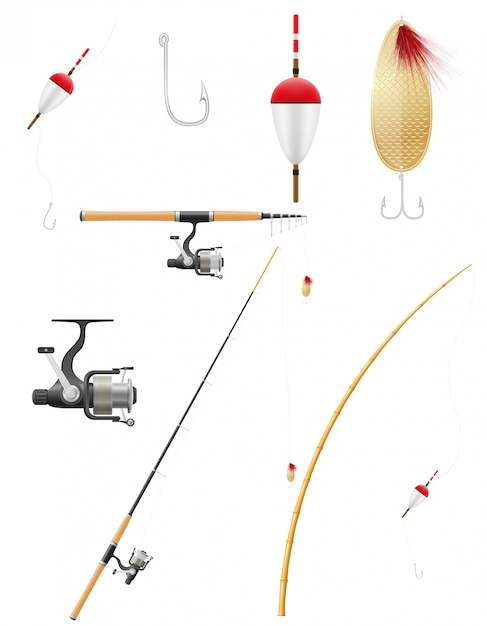 Satz der angelausrüstung-vektorillustration Premium Vektoren