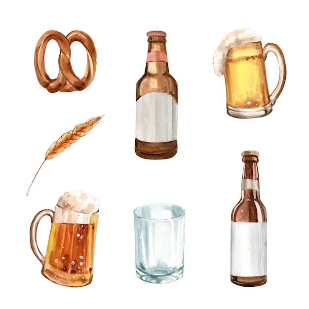 Satz der aquarellbrezel, gerste, bierillustration Kostenlosen Vektoren