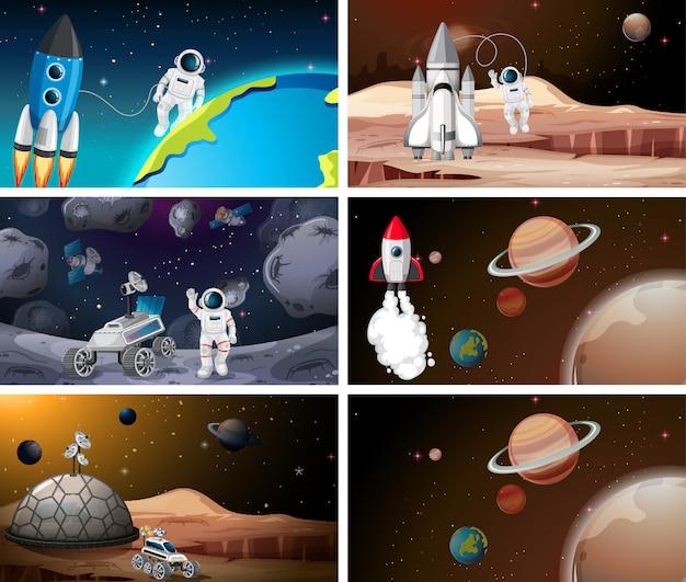 Satz der astronauten- und sonnensystemszene oder -hintergrundes Kostenlosen Vektoren