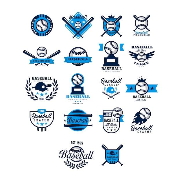 Satz der baseball-abzeichen- und logo-sammlung Premium Vektoren