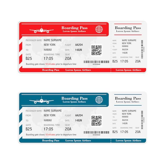 Satz der bordkartenkarten der fluggesellschaft Premium Vektoren