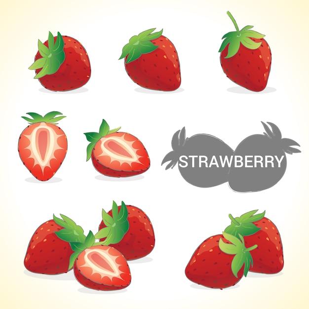 Satz der erdbeere im verschiedenen artvektorformat Premium Vektoren