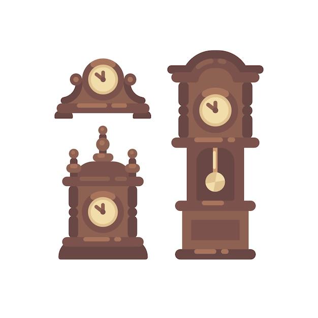 Satz der flachen illustration der alten weinleseborduhr Premium Vektoren