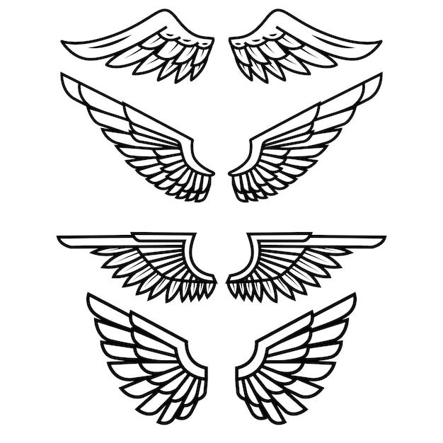 Satz der flügel auf weißem hintergrund. elemente für logo, etikett, emblem, zeichen, abzeichen. illustration Premium Vektoren